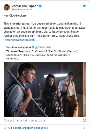 Timeless Reactions Creators On Show Cancellation This Is A Sad Day